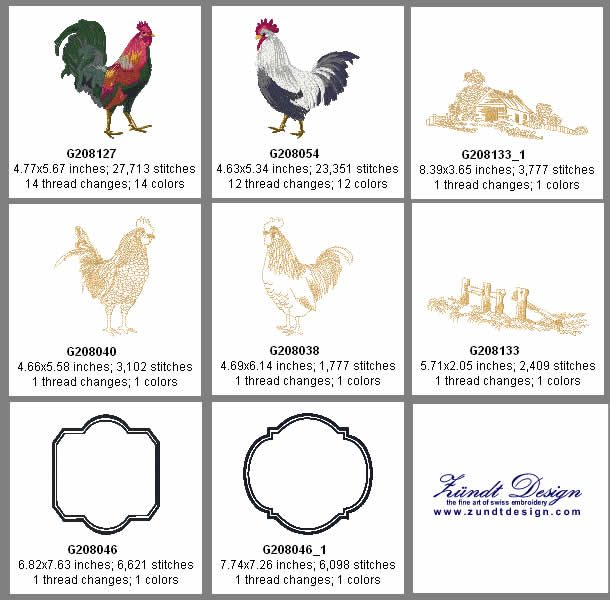 Rustic Roosters Embroidery Design